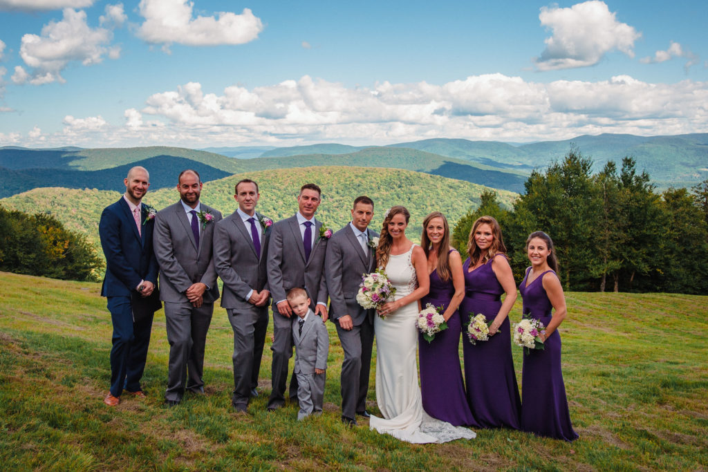 wedding party on mountaintop